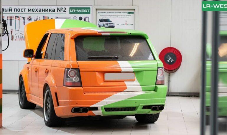 Оранжево-зелёный Range Rover L322
